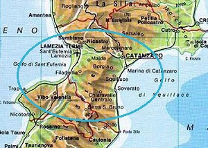 Calabria national park map and roads