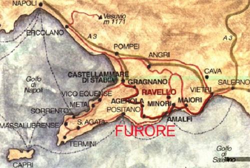 Furore Italy Map.South Italy Amalfi Coast