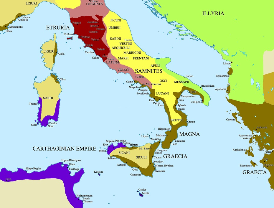 Map Of Ancient Italy Regions.A Guide To Italy S Most Important Archaeological Sites