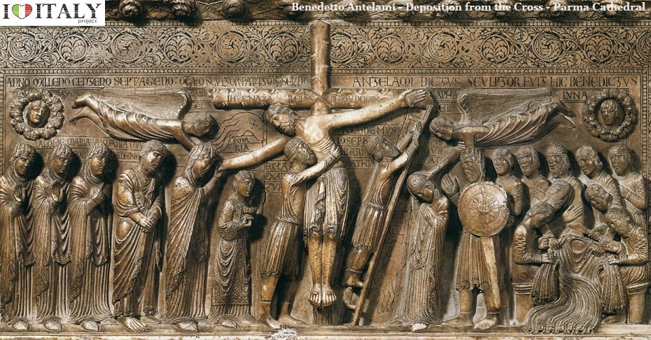The Sculptures Of Benedetto Antelami Parma Cathedral And Baptistery Demonstrate Transition From Romanesque To Gothic Deposition Cross