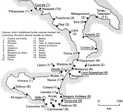 The Greeks From Magna Grecia - Greek colonization archaic period map